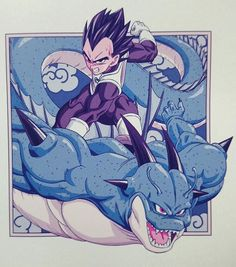 Art of Dragon Ball Super Vegeta on the back of Porunga, the great dragon of Namek.