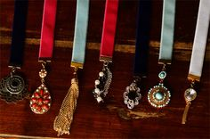 """ribbon bling bookmarks - clamp end crimps, 9"""" lengths of ribbon, jump rings and bits of jewellery come together for gorgeous old-world looking bookmarks"""
