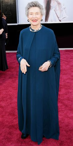 Emmanuelle Riva's Lanvin teal cape and long dress outfit at the Academy Awards, 2013