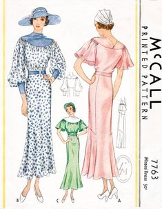 Shop dress patterns- A beautiful 1934 day or afternoon dress in 2 style variations. Rounded yoke neckline, art deco seam interest along the geometric side skirt insets. Vintage Dress Patterns, Dress Sewing Patterns, Clothing Patterns, Vintage Dresses, Vintage Outfits, 1930s Fashion, Edwardian Fashion, Vintage Fashion, Gothic Fashion