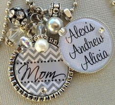 PERSONALIZED gift, Chevron - Children's Names, Christmas gift, Mother gift, Grandma gift, birthday gift, Aunt gift, heart charm, remembrance by buttonit on Etsy