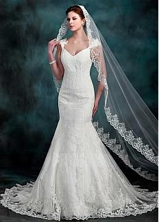 Elegant Tulle V-neck Neckline Mermaid Wedding Dresses With Lace Appliques