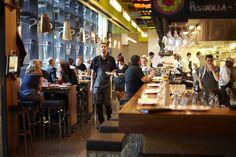 Eat and drink in Melbourne: MoVida Aqui Level 500 Bourke St, Melbourne. (Access via Lt Bourke). Melbourne Restaurants, Noodle Bar, Restaurant Concept, Places To Eat, Stuff To Do, Australia, Dining, Interior Design, Architecture