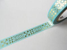 mt Washi Masking Tape - Aqua & Gold Stitches - Limited Edition Japanese. $12.50, via Etsy.