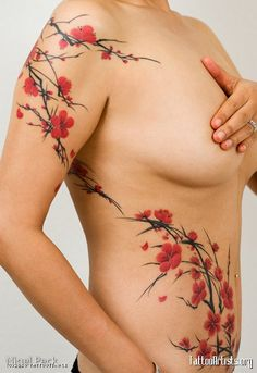 tattoo cherry blossom tree   Freehand Cherry BlossomsBy Joey Pang of Tattoo Temple