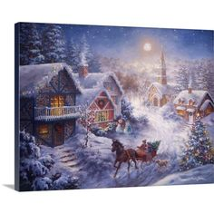 Found it at Wayfair - Christmas Art 'In a One Horse Open Sleigh' by Nicky Boehme Painting Print on Wrapped Canvas