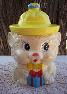 Vintage Ceramic Cat Cookie Jar