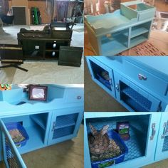 Purchased an old dry-wash sink at a local shop and turned it into an indoor bunny hutch! Small Animal Cage, Small Animals, Rabbit Habitat, Bunny Hutch, Bunny Cages, Rabbit Hutches, Pet Cage, Artist Life, Pet Stuff