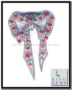 India Jewelry, Gems Jewelry, Esty, Gem S, Sterling Silver Jewelry, Machine Embroidery, Fashion Jewelry, White Gold, Brooch