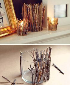 Decorar con velas y algunas ramas #DIY #Decoracion