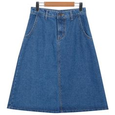 Denim A-Line Midi Skirt (86 BRL) ❤ liked on Polyvore featuring skirts, yesstyle, a line denim skirt, mid calf skirts, blue denim skirt, denim midi skirt and blue skirt