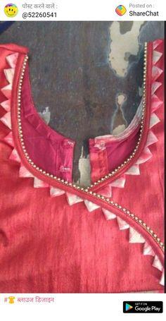 New Stylish & Trendy Kurti Neck Designs For Your Amazing Look - Kurti Blouse Chudidhar Neck Designs, Salwar Neck Designs, Churidar Designs, Kurta Neck Design, Neck Designs For Suits, Blouse Back Neck Designs, Neckline Designs, Salwar Neck Patterns, Sleeve Designs