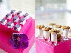 More from this fabulous desert table: mini marshmellow treats... milk and cookies