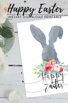 Happy Easter Printable Card, Easter Print Bunny, Happy Easter Card Watercolor Art, Watercolor Easter Bunny Print, Printable Art, Watercolour Card. Instant download! #affiliate #easter #printable #watercolor #art #rabbit #bunny