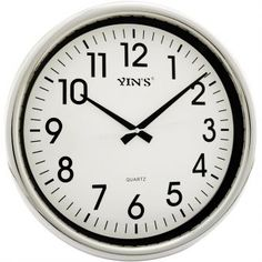 Relógio de Parede Yins YI15096 Prata 36cm - Megazim