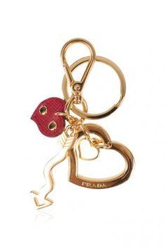 Prada Fuoco Trick Metal Heart Keyring