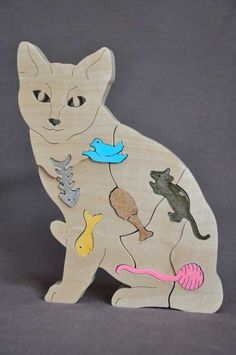 Cat Kitten Favorite Things Puzzle Wooden Toy Hand by Puzzimals