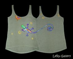 Hand painted tank-top. Psychedelic clothes. Tshirt от LeRuGallery