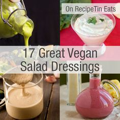 17 Great Vegan Salad Dressings - ranch dressing, ceasar dressing, green goddess, creamy buttermilk, and many more! LOOK to see what works for food allergies! Vegan Sauces, Vegan Foods, Vegan Dishes, Raw Food Recipes, Vegetarian Recipes, Cooking Recipes, Vegan Vegetarian, Healthy Recipes, Ceasar Dressing