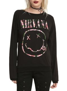 Nirvana Floral Smiley Girls Top | Hot Topic