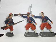 Konvolut 3 alte Hausser Elastolin Massesoldaten WK1 Zuaven kämpfend zu 10cm   eBay