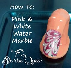 Pink, White and Rhinestones Water Marble Nail Art