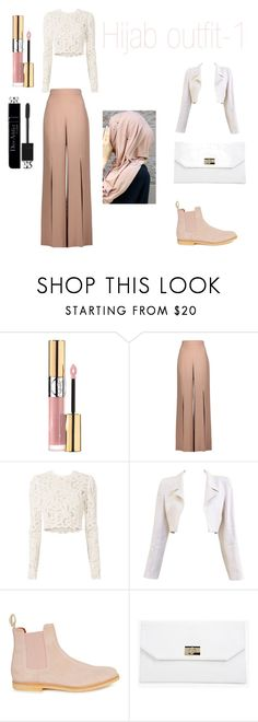 """Hijab outfit -1"" by xilahax ❤ liked on Polyvore featuring Yves Saint Laurent, Cushnie Et Ochs, A.L.C., Chanel, Common Projects, Boohoo and Christian Dior"