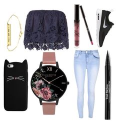 """""""Untitled #108"""" by galaxygamer1029 ❤ liked on Polyvore featuring Miguelina, Glamorous, Kylie Cosmetics, Olivia Burton, Trish McEvoy and NIKE"""