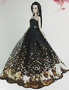 boneca barbie vestido de casamento de luxo de paetês preto e dourado