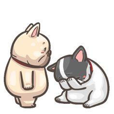 French Bulldog PIGU-Sticker VIII Cute Cartoon Drawings, Cartoon Gifs, Cartoon Characters, Cute Love Pictures, Gif Pictures, Bulldog Gif, Character Design Animation, Cute Chibi, Cute Gif