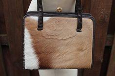 Superb Vintage 1940s 50s Leather & Springbok Skin Hair Fur