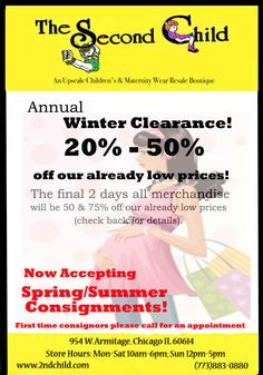Annual Winter Clearance Now at The SecondChild