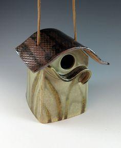 Bird House / Ceramic River Cottage Birdhouse / Functional / Celadon / 471