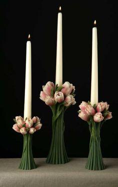 Blush Tulips Candlestick Set