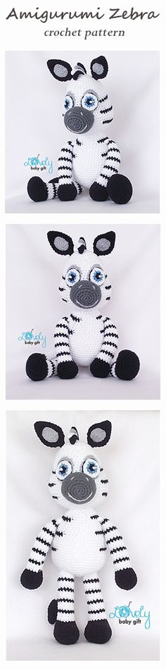 Crochet Pattern - Amigurumi Zebra, crochet animal pattern…