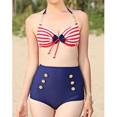 Vintage High Waist Striped Bow Decorated Halter Double-Breasted Spandex Women's BikiniSwimwear | RoseGal.com
