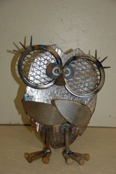 Mama OWL using recycled metal on Etsy, $32.50