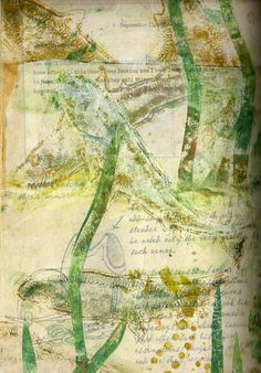 monoprint ghost print collaged into an altered book
