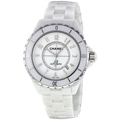 Chanel J12 White Dial Ceramic Automatic Unisex Watch ($4,150) ❤ liked on Polyvore featuring jewelry, watches, accessories, bracelets, crown jewelry, chanel jewelry, ceramic watches, chanel watches and chanel