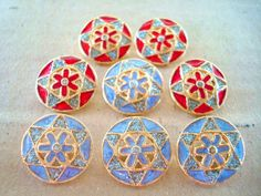 8 VINTAGE shank buttons     Blue and Red Color  17 by Buttonblue31, $4.00