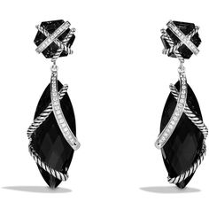David Yurman Cable Wrap Double-Drop Earrings with Black Onyx and... (5.915 BRL) ❤ liked on Polyvore featuring jewelry, earrings, accessories, brincos, black, pave diamond drop earrings, diamond earrings, pave diamond earrings, black onyx earrings and long earrings