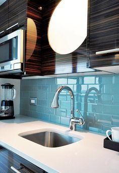 Aqua Blue Glass Subway Tile Kitchen Backsplash