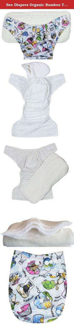 See Diapers Organic Bamboo Terry Baby Cloth Diaper - 2 Bamboo Inserts Travel. This Organic Bamboo One Size Pocket Diaper consist of 2 parts: a waterproof outer shell + 2 large Grade A Organic bamboo inserts. The outer shell is made of high quality, durable and soft fabric. Laminated with the new and improved Thermoplastic Polyurethane (TPU), a composition specifically adapted to produce non-porous membranes exhibiting waterproof and water vapor transmissible. The result is a high…