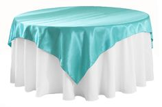 """Square 72"""" Satin Table Overlay - Light Turquoise ● As Low as $3.78"""