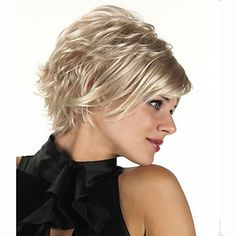 Capless Short Synthetic Mixed Straight Curly Hair Wig Full Bang 4738157 2016 – $32.99
