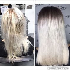 Icy blonde hair with root shadow and blunt one length cut created by Kara in training! Icy Blonde, Blonde Color, Blonde Hair, Lauren Conrad, Hair Shadow, Fashion Lighting, Kara, Hairdresser, Curls