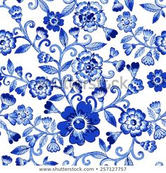 Vector Floral Watercolor Texture Pattern Blue Stock Vector (Royalty Free) 257127757
