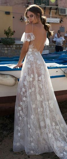 Wedding Gown MUSE by Berta Sicily Wedding Dress Collection Wedding Dresses 2018, Bridal Dresses, Formal Dresses, Wedding Dressses, Bohemian Prom Dresses, Sheer Wedding Dress, Dresses Dresses, Dresses Online, Bridal Collection