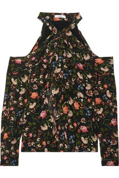 Erdem - Aila Cold-shoulder Floral-print Silk Crepe De Chine Top - Black - UK14