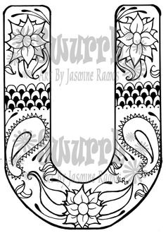 Instant Download Coloring Page Monogram Letter U by Swurrl on Etsy, $0.99